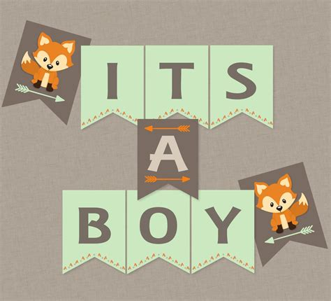 Woodland Fox Baby Shower Hanging Banner INSTANT DOWNLOAD