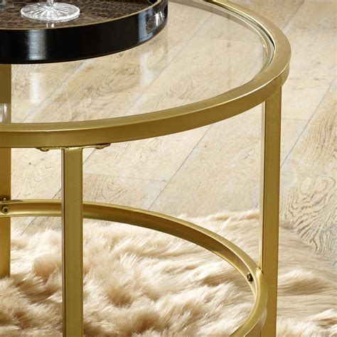 Athena gold geometric luxe side table. Vintage Gold Round Glass Top Coffee Table - Windsor Browne