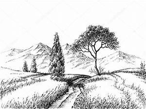 Pole Krajobraz Rysunek O U0142 U00f3wkiem  U2014 Grafika Wektorowa