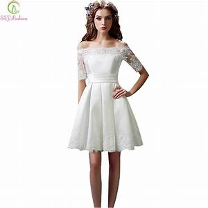 ssyfashion white evening dresses bride married lace short With formal short dresses for weddings