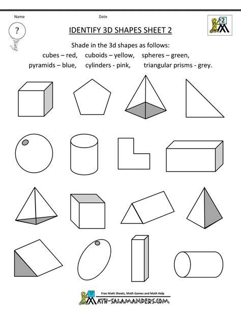 3d shape worksheets identify 3d shapes 2 gif 0 4 2nd