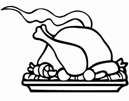 Thanksgiving Dinner Turkey Coloring Clipart Clip Outline
