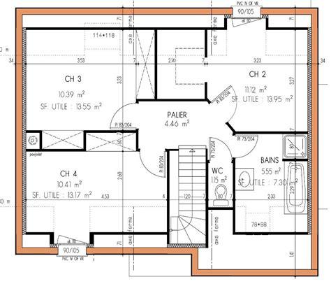 plan maison a etage 3 chambres plan de maison a etage 4 chambres