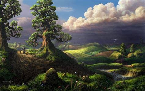 digital art fantasy art clouds nature landscape trees