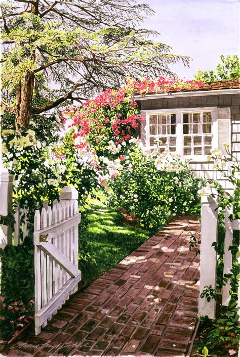 Rose Cottage Gate Painting By David Lloyd Glover