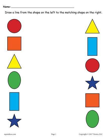 shapes matching worksheets  images alphabet
