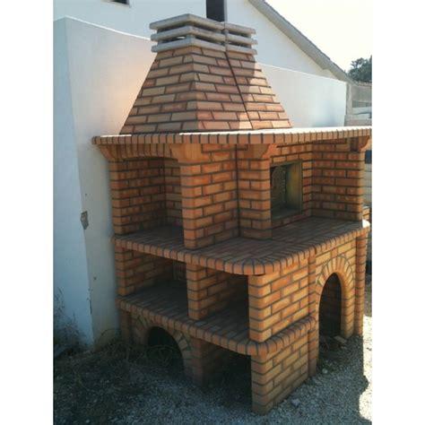 barbecue et four a bois en brique refractaire ref ile