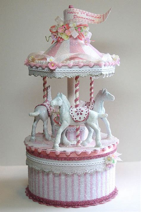 carousel cake topper pretty in pink carousel cake topper by patriciaminishdesign