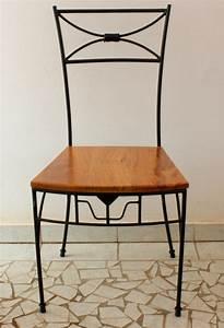 Chaise Fer Forgé Et Bois : chaise en fer forg avec motifs assise en bois dimb ~ Dailycaller-alerts.com Idées de Décoration