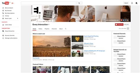 youtube channel gui psd template  interaction