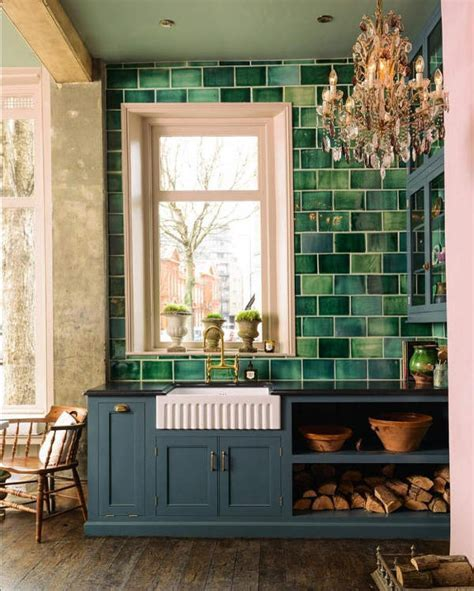 English Country Kitchen With Handmade Green Tiles   DigsDigs