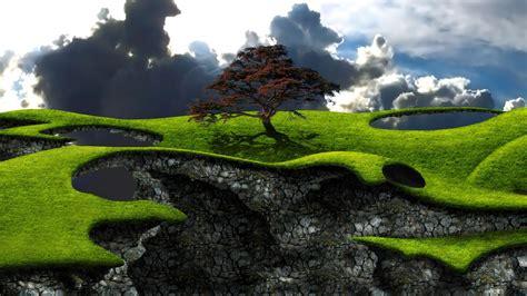 digital art landscape nature clouds trees field