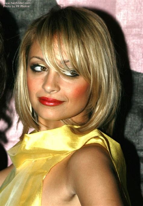 nicole richies medium length bob haircut  bangs