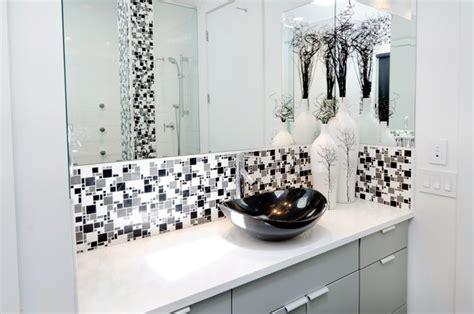 modern minimal black white  grey tile bath