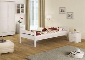Futonbett 100x200 Weiß : stabiles bettgestell kiefer massiv wei 100x200 einzelbett futonbett ohne rollrost w or ~ Markanthonyermac.com Haus und Dekorationen