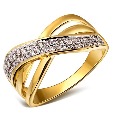 women woven design deluxe cubic zirconia wedding ring 18k