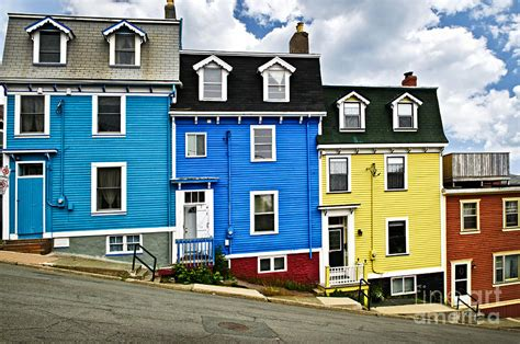 Colourful House by Colorful Houses In St S Newfoundland Photograph By