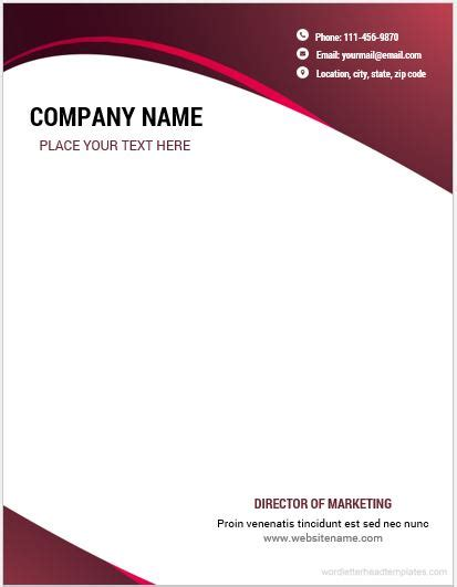 business letterhead template word 10 best letterhead templates word 2007 format microsoft 20753 | Business letterhead 3 CRWC