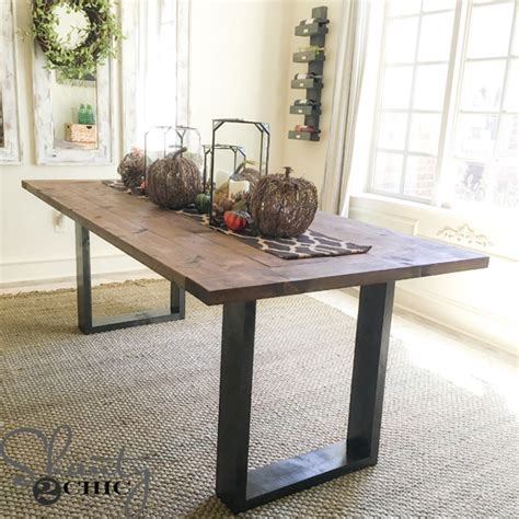 Free Diy Furniture Plans How Diy Rustic Modern Dining Table Shanty 2 Chic
