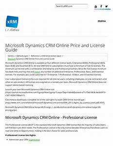 Microsoft Dynamics Crm Online Price And License Guide X Rm