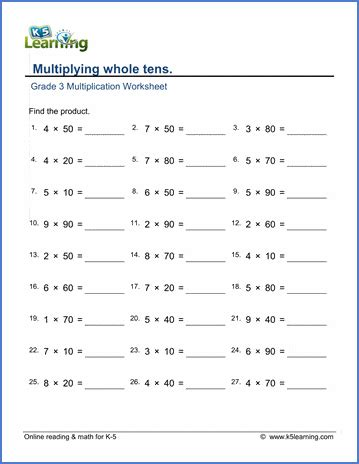 printable  grade math worksheets  learning