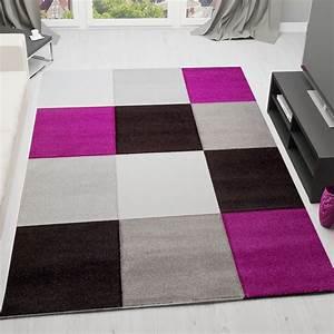 Teppich Grau Lila : moderner designer frisee teppich kariert hoch tief struktur in lila schwarz grau weiss i5241 ~ Indierocktalk.com Haus und Dekorationen