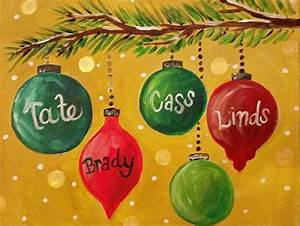 Christmas, Ornament, Branch, Canvas, Painting