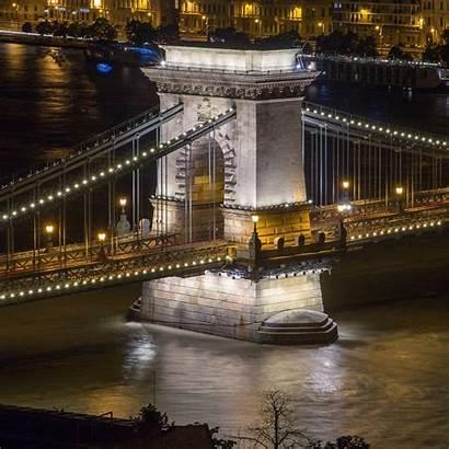 Bridge Low Chain Danube Pillar Shot Flooded