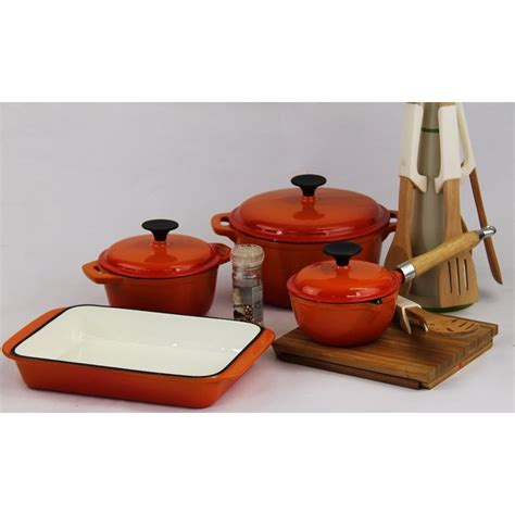 kitchen dining bar  piece cast iron fine living cookware set red  listed