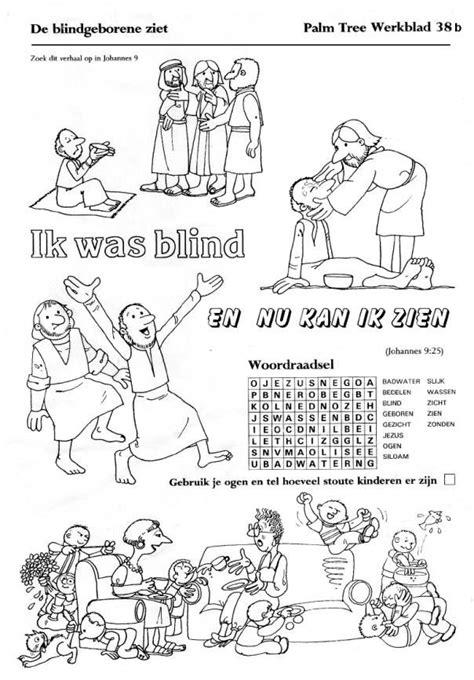 Kleurplaat De Blindgeborene by Werkje Mattheus 9 Zoeken Kinderkerk Bijbel