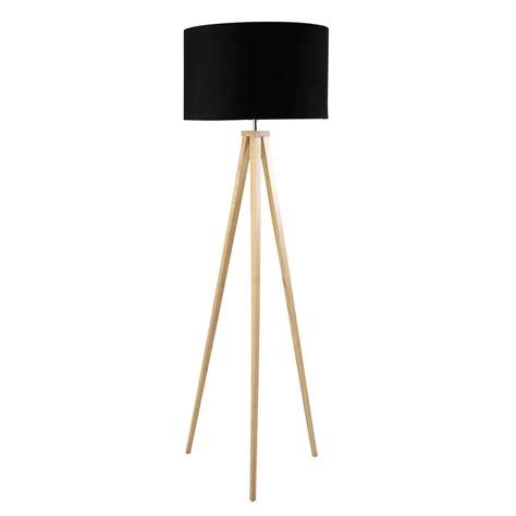 lampadaire trepied en bois  coton noir   cm karlsen maisons du monde