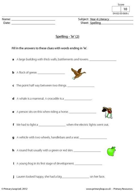 primaryleap co uk this spelling worksheet