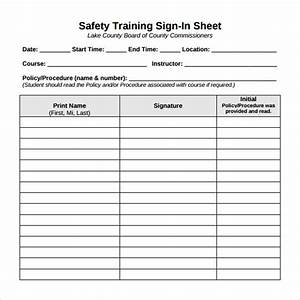 12 sample training sign in sheets sample templates for Class sign in sheet