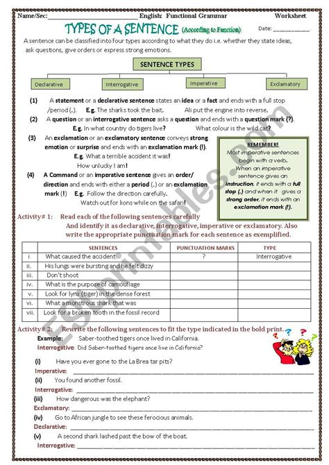 worksheets types of a sentence according to
