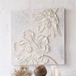 Toile Blanche A Peindre : tableau avec fleurs en 3d peinture acrylique sur toile ~ Premium-room.com Idées de Décoration