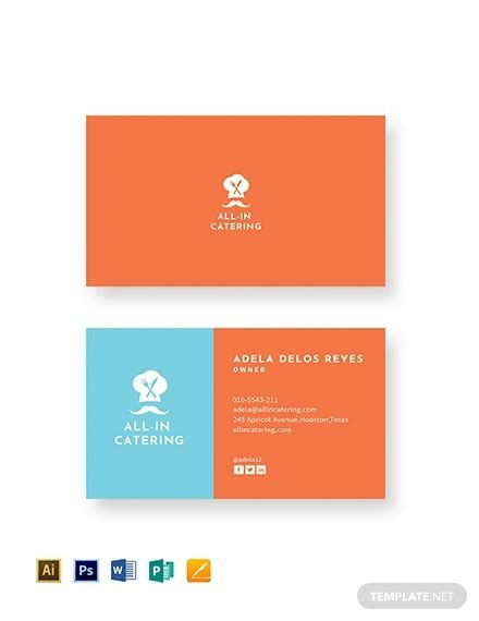 catering visiting card templates free 19 catering business card templates in publisher