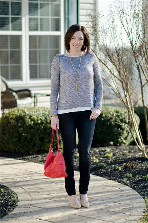 Spring Date Night Outfit Striped Cross-Back Tee