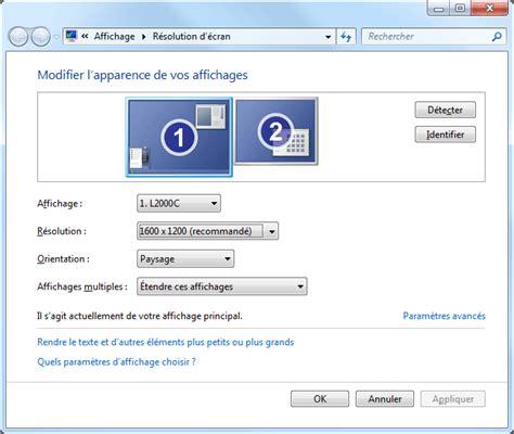 affichage bureau windows 7 ecran d 39 ordinateur format et taille aidewindows