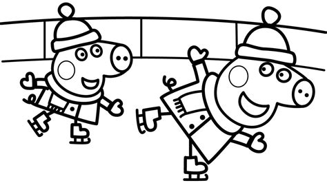 Peppa Pig Pages Family Coloring Peppa Pig Snowboarding