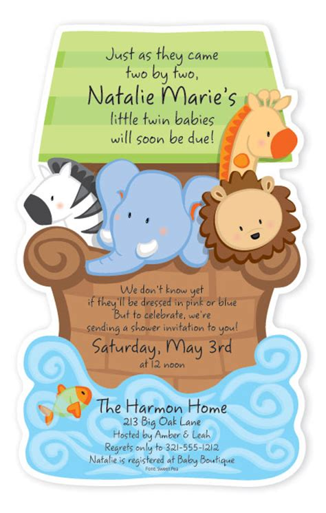 noahs ark baby shower noah 39 s ark baby shower diecut invitation