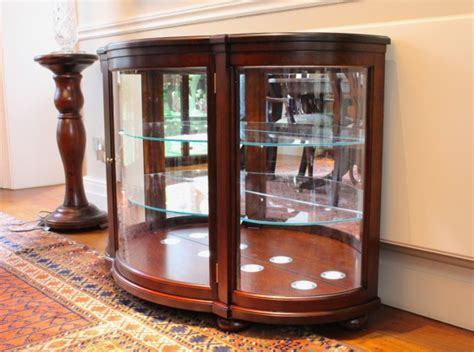 Bow Front Cherry Display Cabinet   Corwell