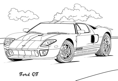 coloriages de bagnoles ford gt sport  colorier