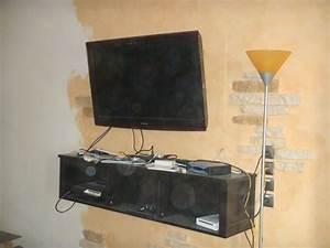 Fixer Une Télé Au Mur : meuble tv a fixer au mur maison design ~ Premium-room.com Idées de Décoration