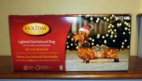 lighted dachshund christmas outdoor yard decoration tinsel
