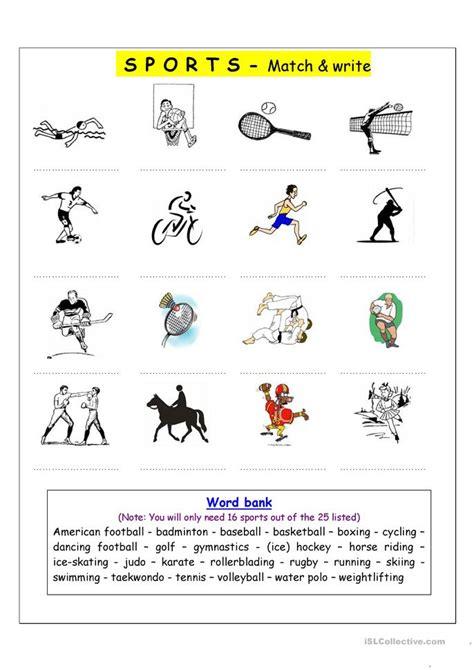 vocabulary matching worksheet sports worksheet
