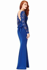 Open Back Lace Maxi Dress with Bow Detail - Royal Blue ...