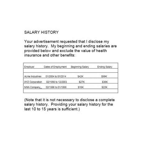 history template 19 great salary history templates sles template lab