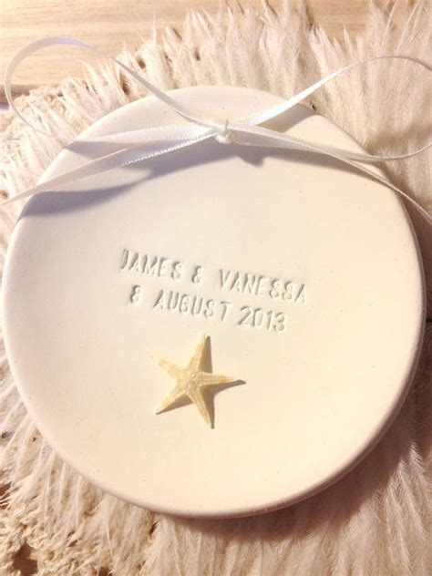 custom genuine starfish beach wedding ring bearer bowl