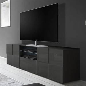 Meuble Laqué Gris : grand meuble tele gris laqu brillant kasalinea ~ Dode.kayakingforconservation.com Idées de Décoration