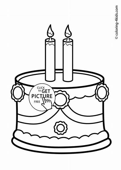 Coloring Birthday Candle Cake Pages Party Printable